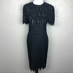 Vintage 80s Black Silk Beaded and Sequins Dress
